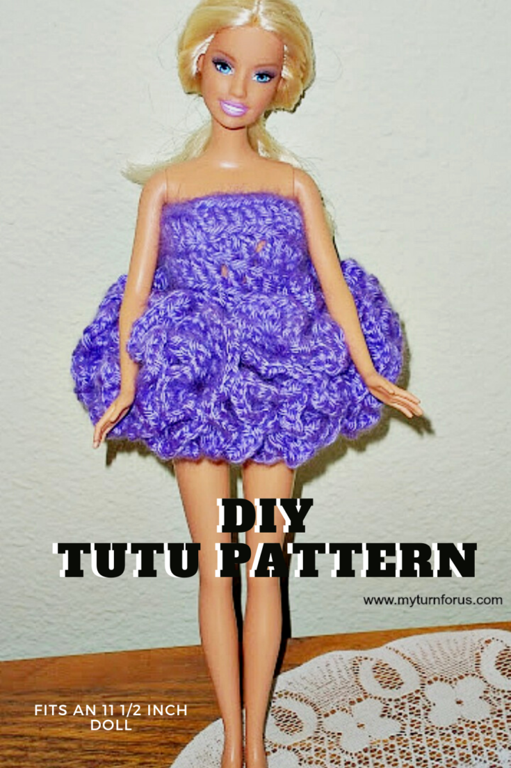 This is a super easy Free Barbie Ballerina Tutu Pattern to crochet a tutu that fits an 11 1/2 inch doll.