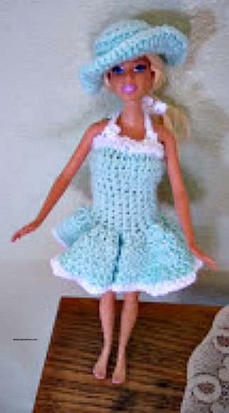 I had made a couple of cute dresses for my Granddaughter s Barbie for  Easter. I basically used the St Paddy s Barbie Dress pattern and made these  adorable ... 105e896b61d