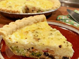 Bacon broccoli mushroom quiche
