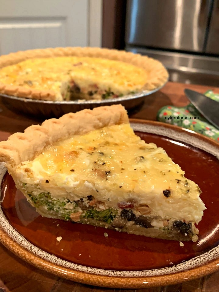 Bacon broccoli mushroom quiche