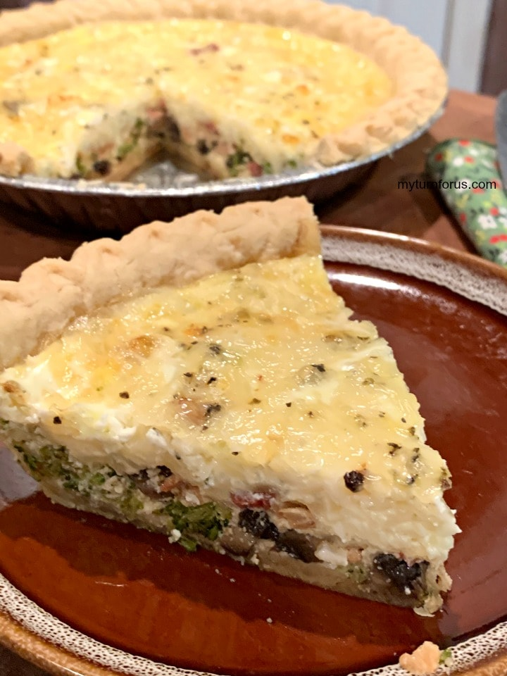 mushroom broccoli bacon quiche