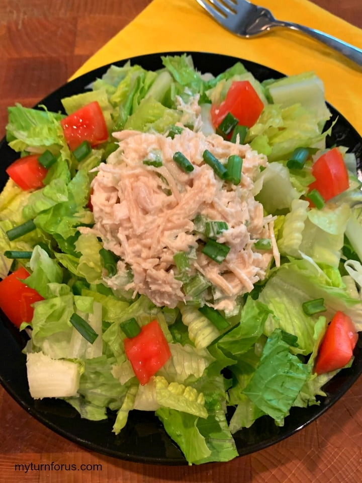 old fashioned chicken salad, chicken salad from canned chicken, on a bed of lettuce
