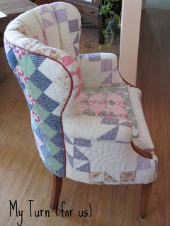 patchwork quilt covered chair