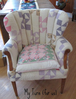 Chair made from patchwork quilts