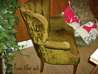 chair before patchwork quilt