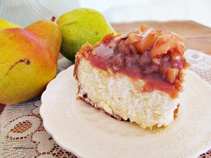 slice of caramel pear cheesecake recipe