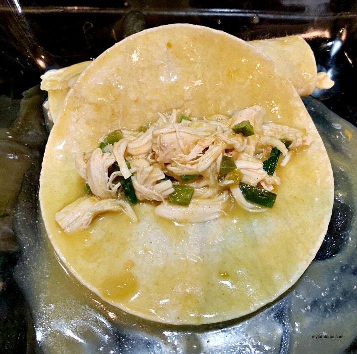 stuffing skinny chicken enchiladas with chicken breast