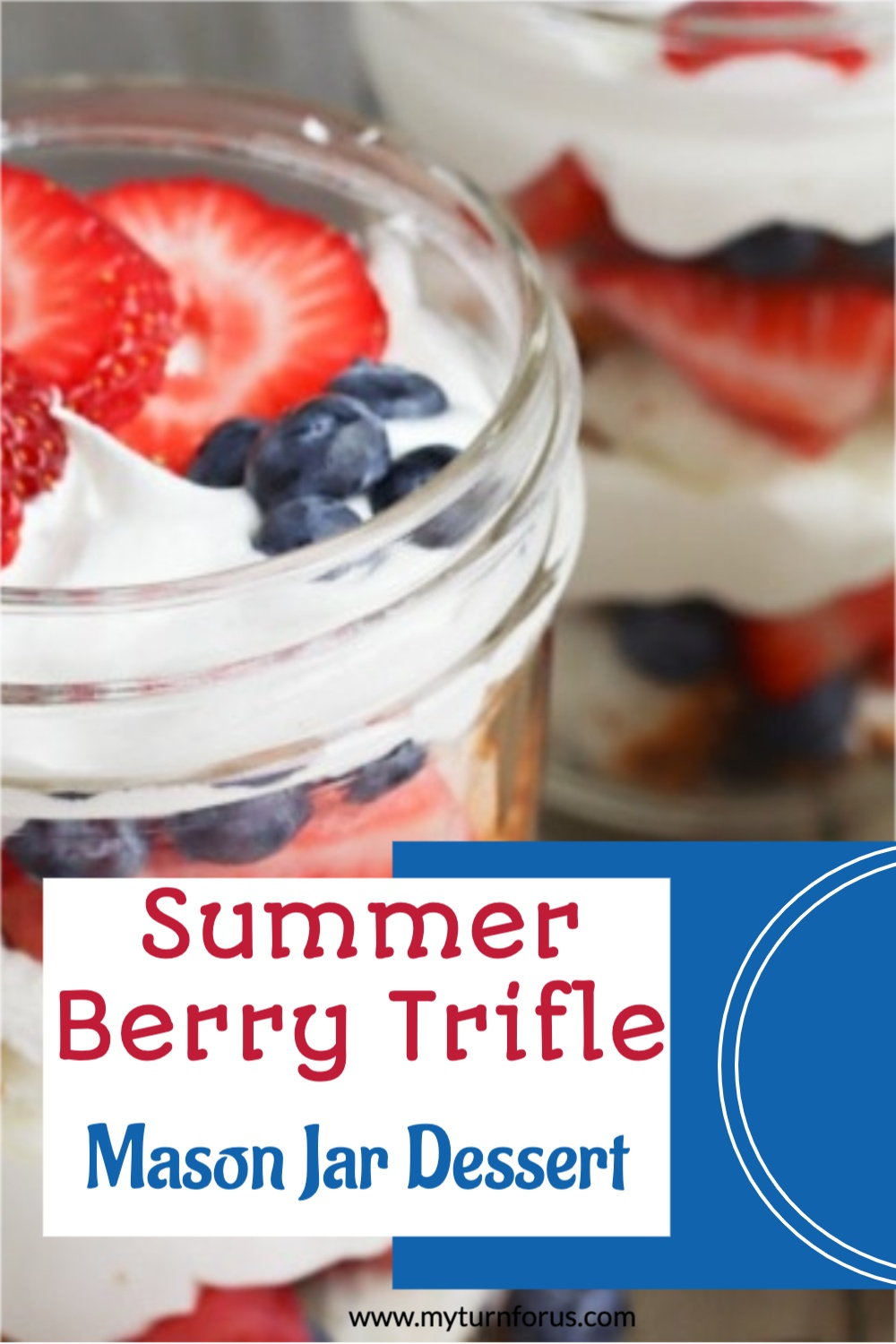 red white and blue trifle in a mason jar
