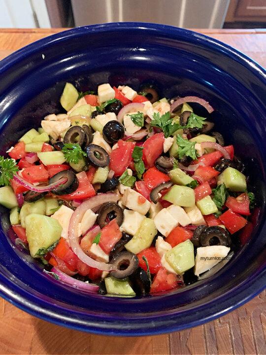 Tomato Cucumber Olive Salad