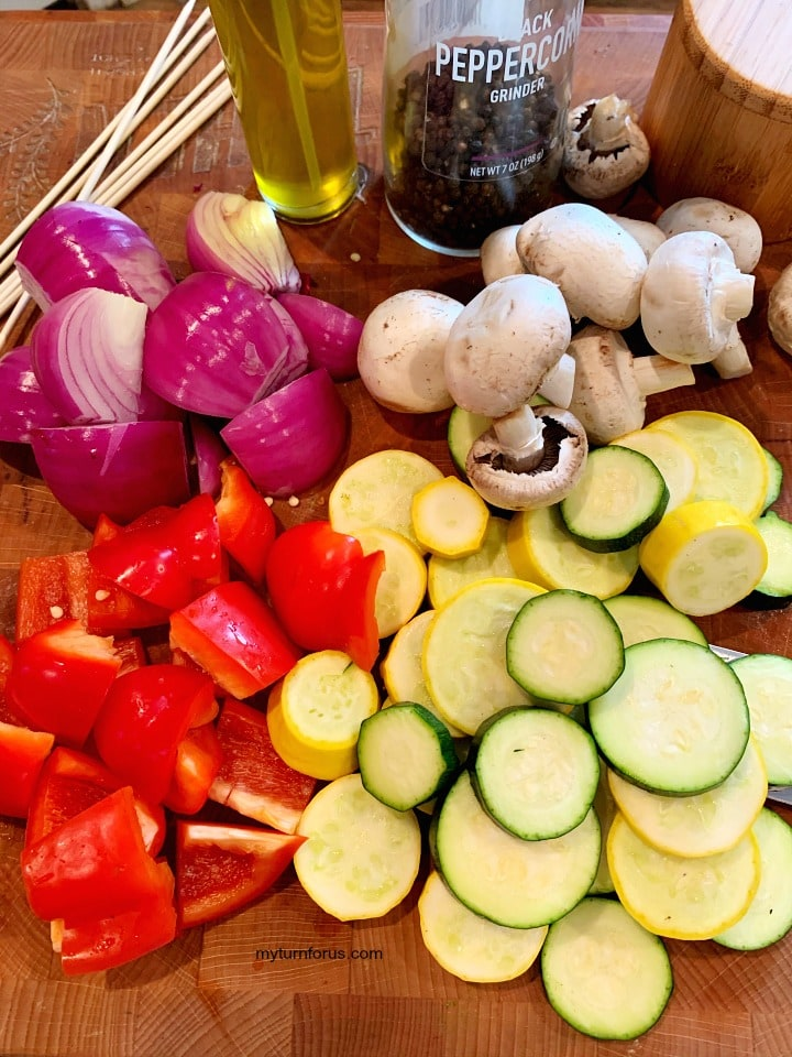 prepared Vegetable skewers for grill, Sliced zucchini, sliced yellow squash, onion and bell peppers