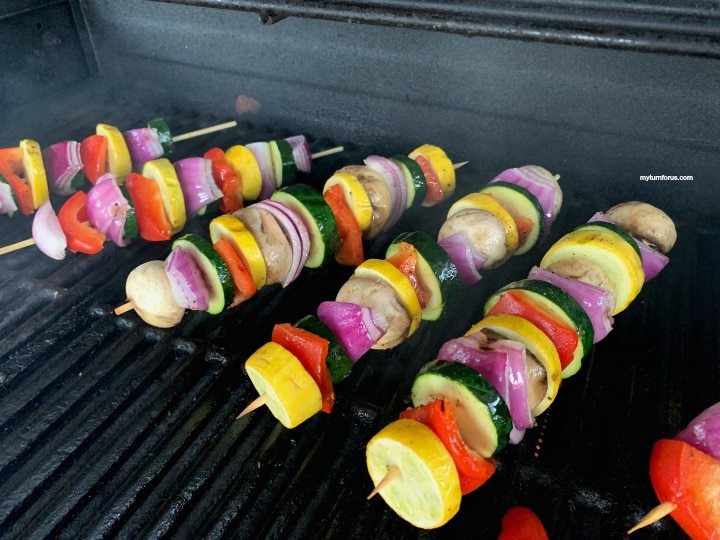 Vegetable skewers on grill
