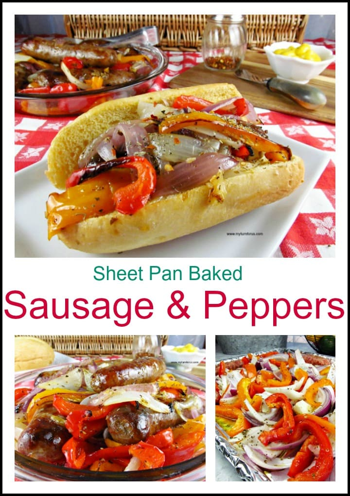 Baked Sausage and Peppers, Sheet Pan Sausage and Peppers, Italian Sausage and Peppers Hoagie