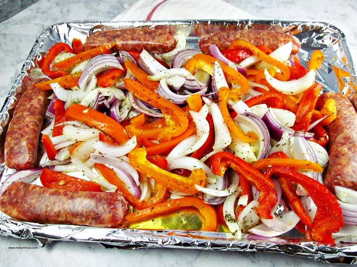 Sheet Pan Sausage and Peppers, Baked Sausage and Peppers