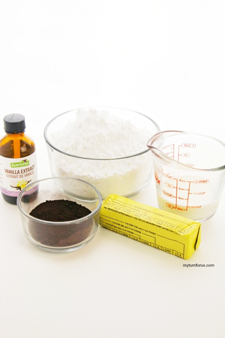 ingredients for chocolate ganache for brownies