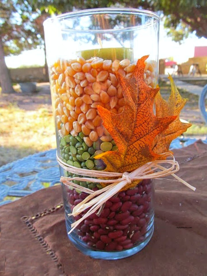 Mason Jar Candle Holders, decorating fall on a budget, DIY Fall Decor ideas