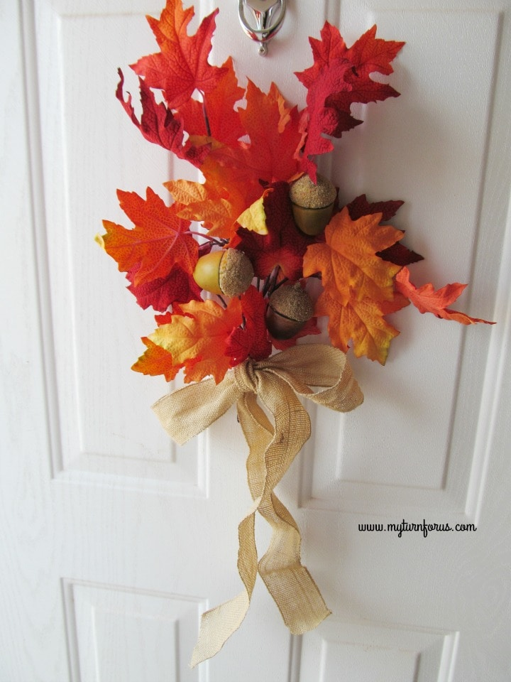 DIY Fall Decor, Front door with a spray of Fall leaves