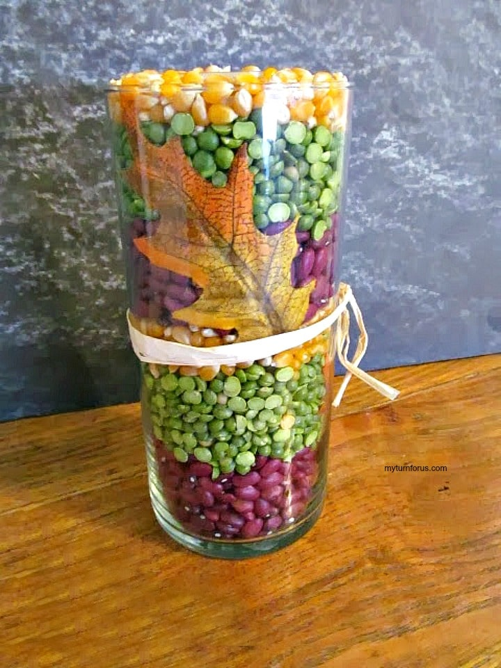 Fall Candle Vase,DIY Fall Decor, harvest decor, decorating for fall on a budget