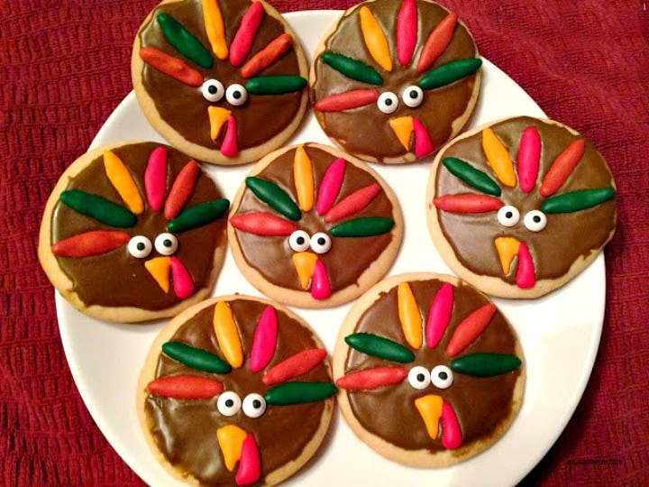 Thanksgiving Turkey Cookies, royal icing decorations