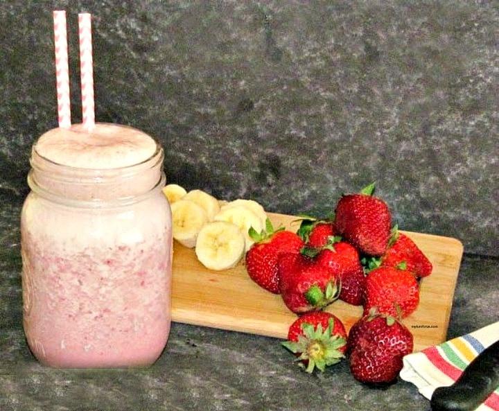 strawberry banana protein shake, strawberry banana protein smoothie, strawberry and banana protein shake