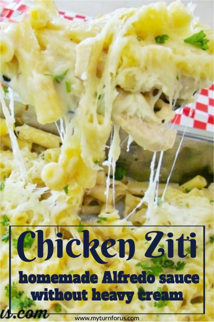This Chicken with bechamel sauce is like a homemade Alfredo sauce without heavy cream. It's a white sauce pasta bake Ziti Chicken Alfredo.