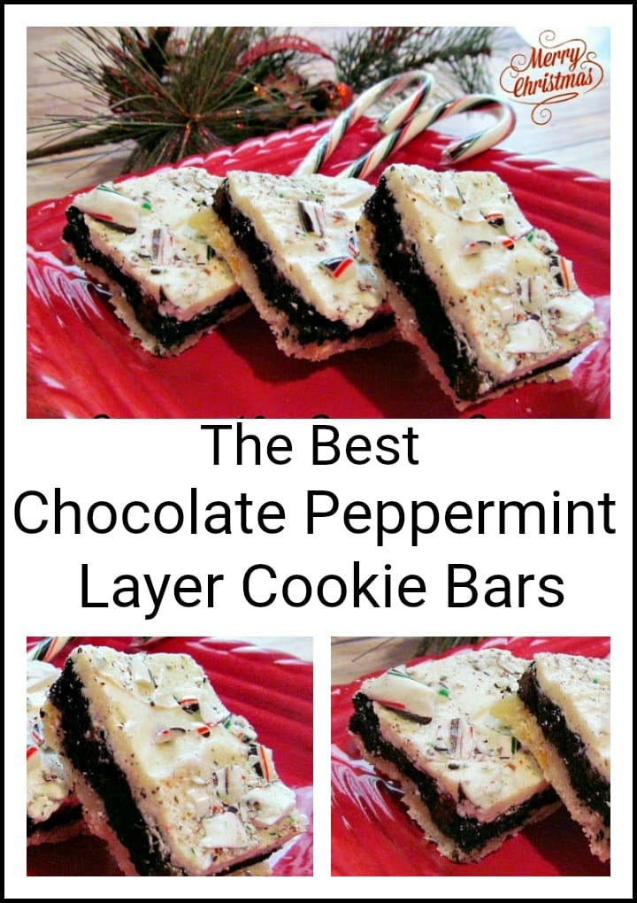 Chocolate Peppermint Cookie Bars for Christmas