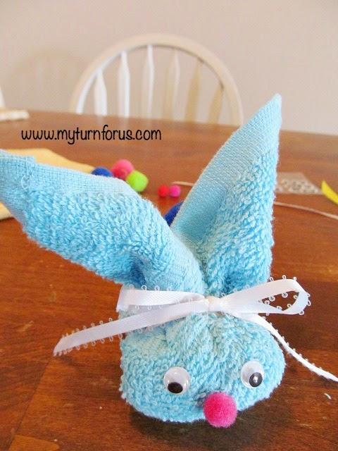 bunny craft, washcloth bunnies