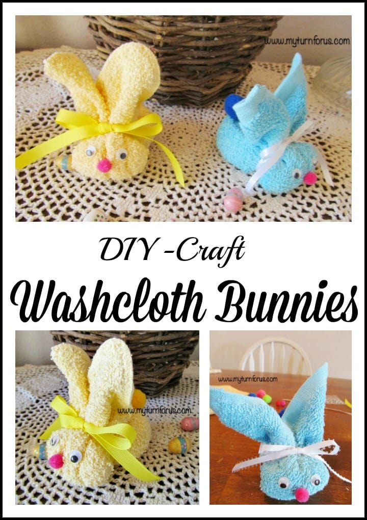 Inexpensive Washcloth Bunny for an simple Easter Craft.