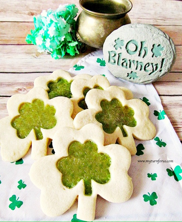 Shamrock sugar cookies, easy stained glass cookies