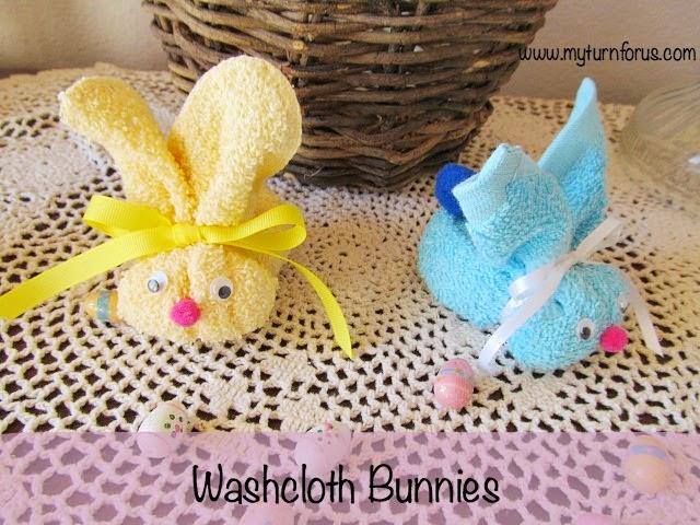bunny craft, washcloth animals