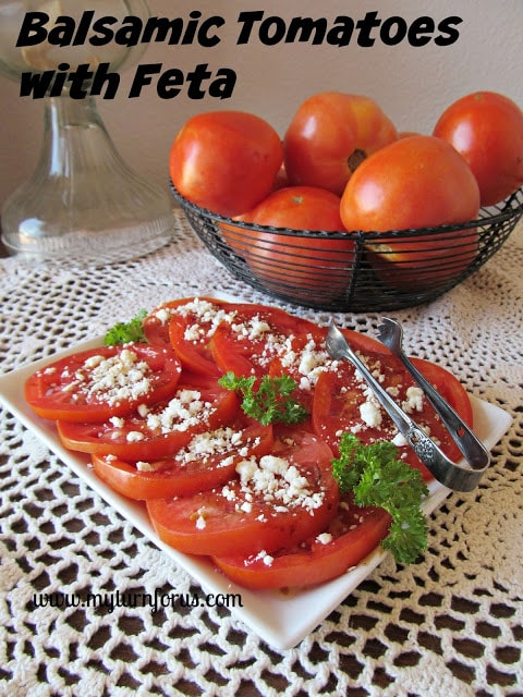 fresh tomatoes with balsamic vinegar, Sliced tomatoes topped with balsamic and feta