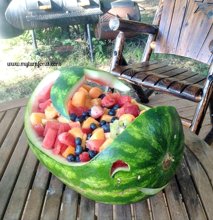 Watermelon Decoration, melon Carving, carved whale watermelon filled with fruit salad