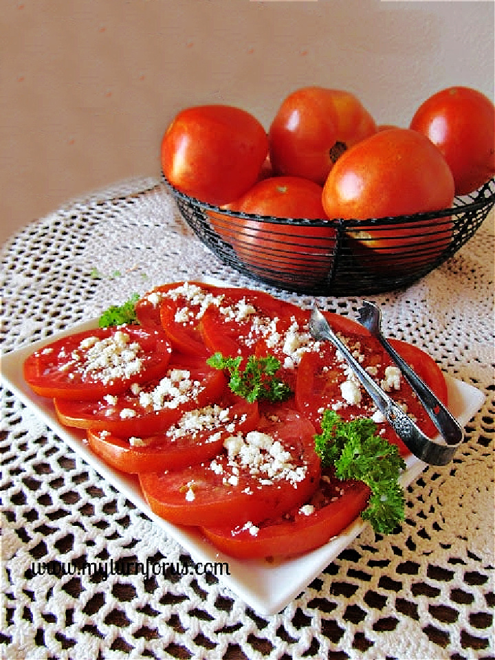 balsamic tomatoes and feta