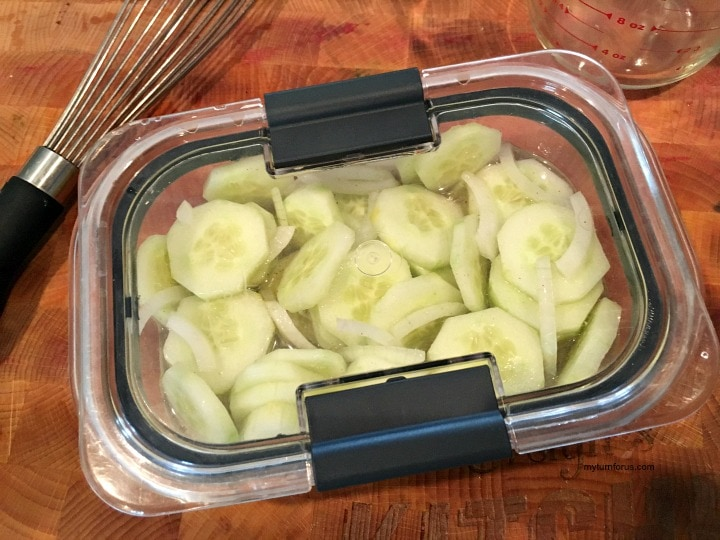 marinated cucumbers, sliced cucumbers in a leakproof container