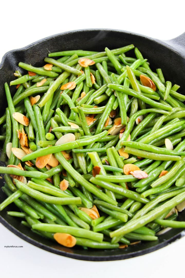 green beans pan fried with toasted slivered almonds