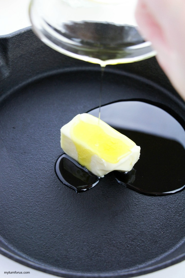 pan frying with butter and olive oil