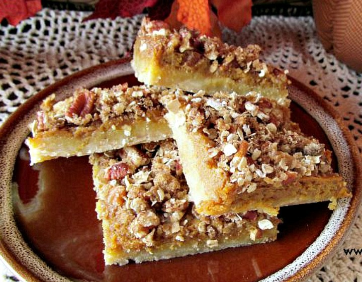 dessert square recipe, pumpkin pecan bars