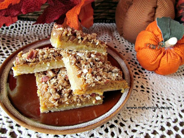 dessert square recipe, pumpkin pie squares with shortbread crust