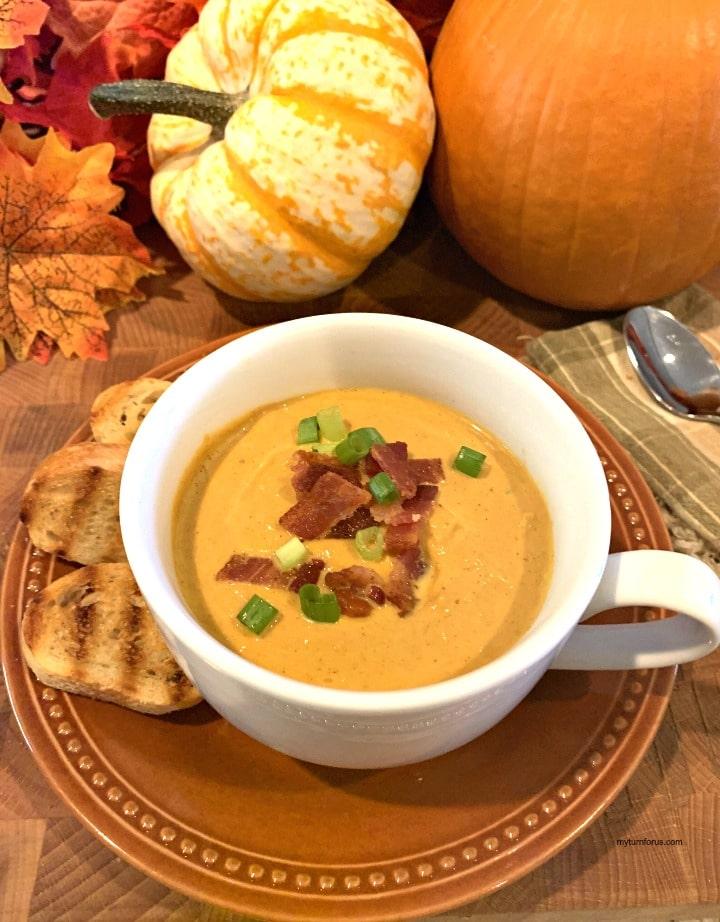 classic pumpkin soup, pumpkin soup with bacon