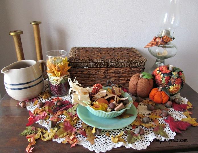 DIY Fall Decor, fall leaves and acorns and stuffed pumpkins
