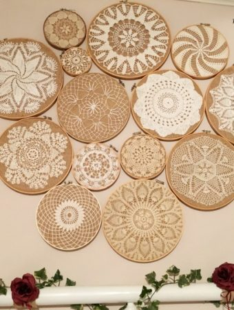 Vintage Crochet Doilies on Embroidery Hoops Collage