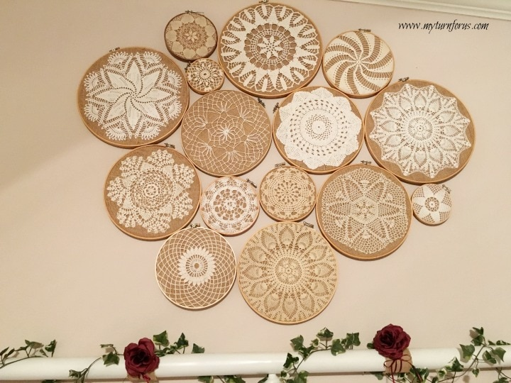 Vintage Crochet Doilies On Embroidery Hoops Collage My