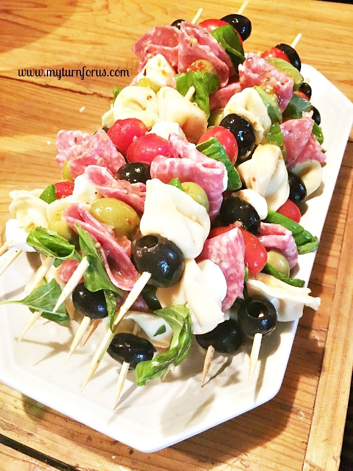 antipasto skewer, antipasto on a stick, antipasto kabob