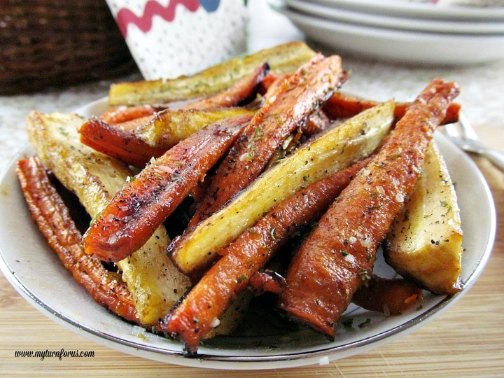 honey glazed carrots and parsnips, honey balsamic glaze.