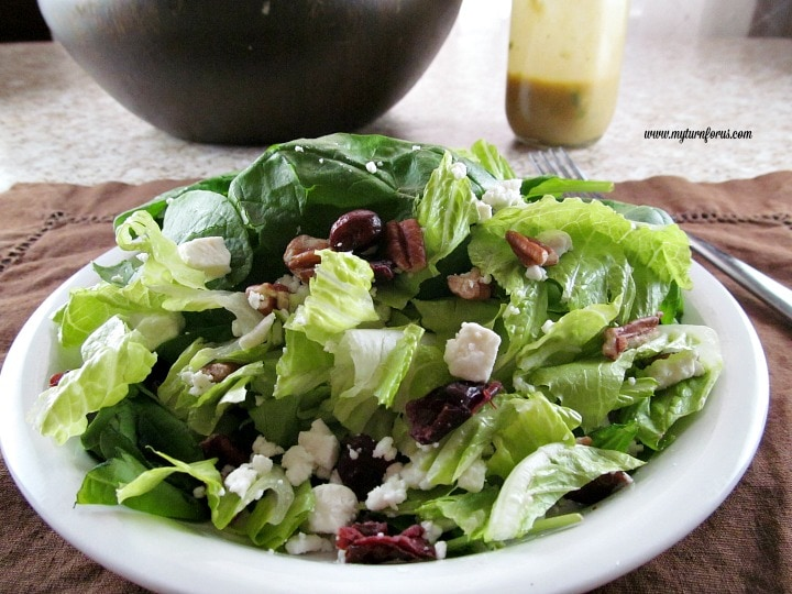 cranberry pecan salad, French vinaigrette dressing
