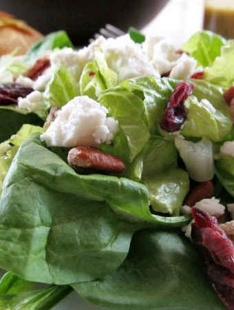 A Feta Cheese, Pecan, Dried Cranberry Green Salad with Homemade Vinaigrette Dressing