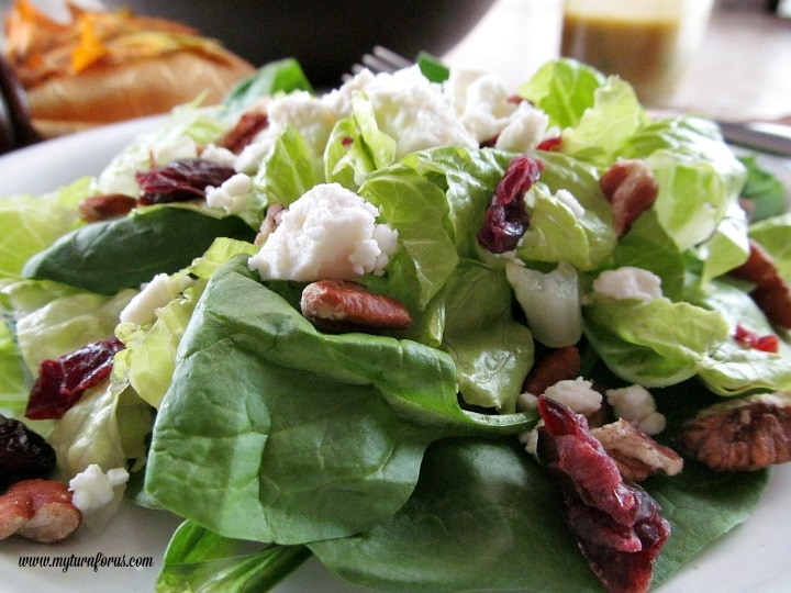 green salad with feta cheese, pecans and dried cranberries