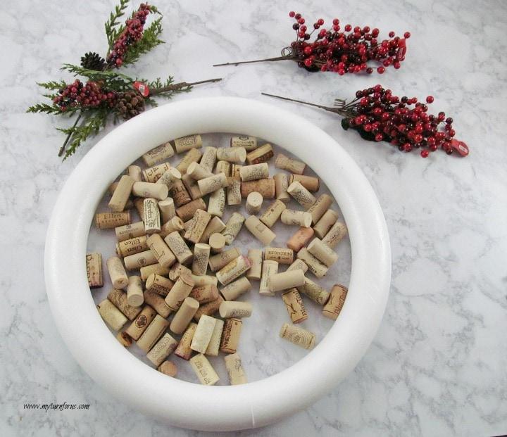 Christmas Wreath, Wine cork crafts