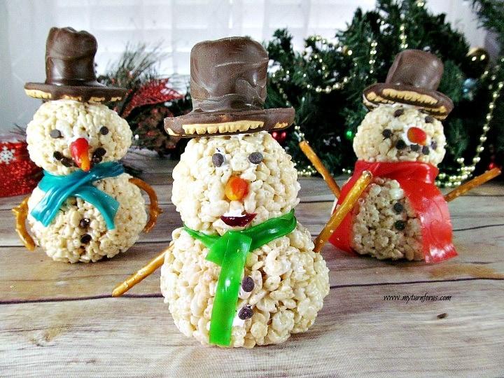 snowman rice krispie treats, rice krispie treats snowmen