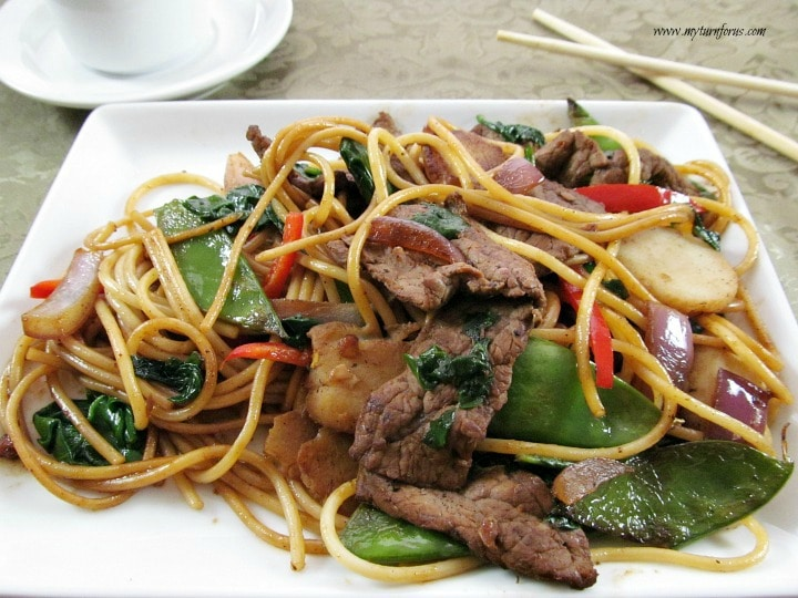 Beef Lo Mein recipe, beef and noodles
