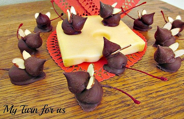 Mice made from kisses and cherries, chocolate cherry mice